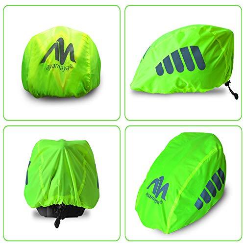 AYAMAYA Fahrradhelm Regenschutz Helmüberzug Reflektierend, Wasserdichter Regenhaube Fahrradhelm Regenüberzug Helm Cover Helmschutz Fahrrad mit Kordelzug und Reflektor-Elementen - 5