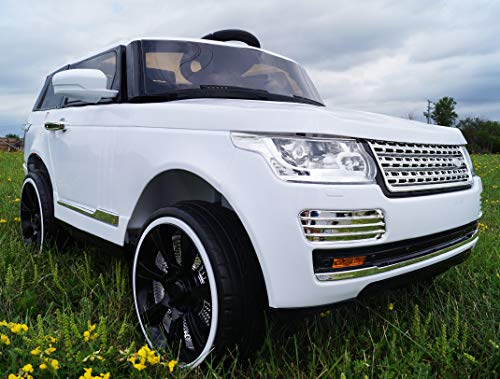 LARGE POWERFUL! RANGE ROVER BLACK REAL RUBBER WHEELS! With double Motors! WITH REMOTE CONTROL ELECTRIC CAR high speed 5,5 km/h! Ride on toy car from two years!