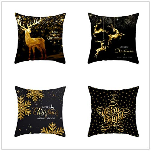 Set of 4 Pcs Throw Pillow Case Cushion Covers Christmas Deer Velvet Soft Superfine Fiber Square Decorative Throw Pillowcases for Living Room Sofa Car with Concealed Zip E5106 40x40cm/15.6x15.6in