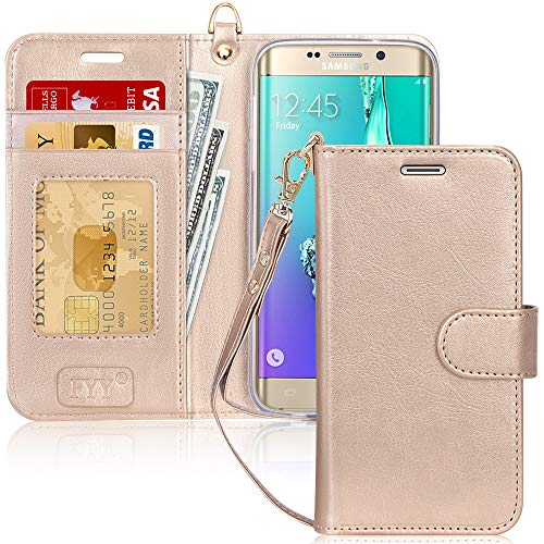 FYY Luxury PU Leather Wallet Case for Galaxy S6 Edge Plus 2015, [Kickstand Feature] Flip Folio Case Cover with [Card Slots] and [Note Pockets] for Samsung Galaxy S6 Edge Plus 2015 Gold