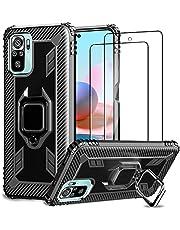 IMBZBK Funda para Xiaomi Redmi Note 10 4G/ Note 10S Carcasa + [2 Pack] Protector Pantalla Cristal Templado, [Soporte Giratorio de 360 Grados con Anillo de Dedo][Grado Militar Anti-Golpe] - Negro