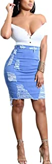 Tianzek Womens High Waist Ripped Denim Distressed Skirt Bodycon Pencil Skirt