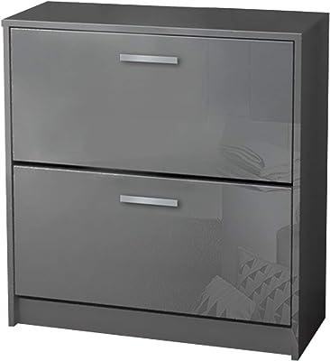 Berlioz Creations Klaket - Scarpiera a Doppio scompartimento, Colore: Bianco Lucido, Altro, Grigio Brillante, 75 x 79