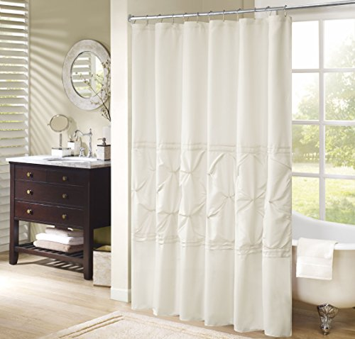 Comfort Spaces Cavoy Bathroom Pintuck Shower Tufted Ruffle...