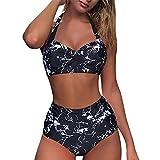 SHOBDW Bikinis Mujer 2021 Push up Bikini de Tres Puntos con Estampado de Cebra y Tira Mujeres Conjunto de Traje de BañO Brasileños Bañador Ropa de Dos Piezas vikinis(Negro,L)