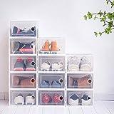Paquete de 12 cajas de zapatos de plástico transparente apilables, cajas de...