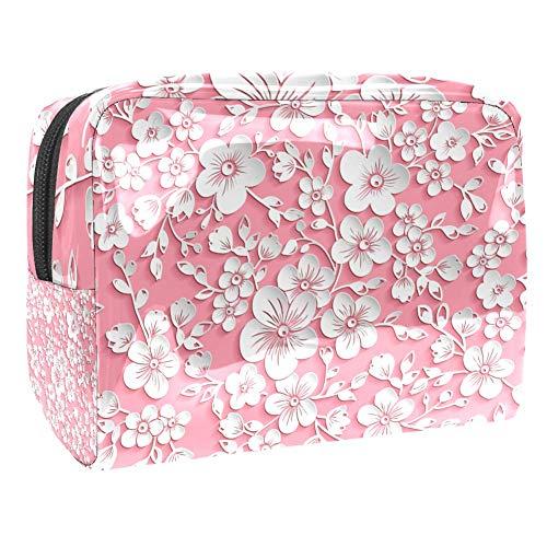 Trousse de toilette multifonction pour femme - Sakura abstrait - Fleur de cerisier rose blanc