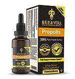 BEE&YOU Propolis 30% Pure Liquid Extract - Ultra Potency - Zero Sugar - Zero Calorie - Supports Healthy Immune System - Sore Throat Relief Antioxidants, Keto, Paleo, Gluten-Free, 1 Fl Oz…