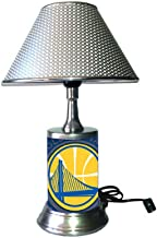 Table Lamp with Metallic Color Shade, Your Favorite Team Plate Rolled in on The lamp Base, GSW