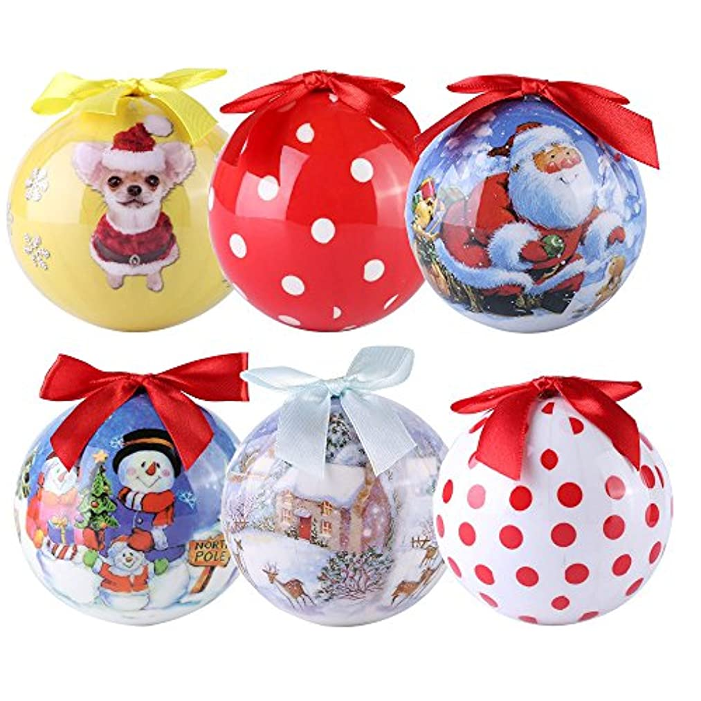 Roxie 2018 New Edition Christmas Ball Ornaments, Exquisite Shatterproof Colorful Xmas Trees Wedding Parties Holiday Decorations Hanging Ornaments 3 Inch 6 Pcs (Chihuahua)