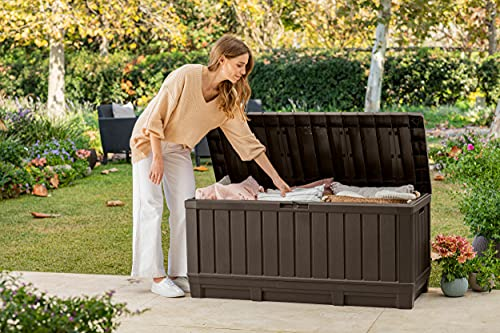 Keter Kentwood 90 Gallon Resin Deck Box-Organization and Storage for Patio Furniture Outdoor Cushions, Throw Pillows, Garden Tools and Pool Toys, Brown
