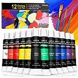 Emooqi Peinture Acrylique, Kit de Peinture Acrylique pour Artistes Comprenant 12 Couleursx 22 ML de Pigment Acrylique Vibrant Couleurs Et 3 pinceaux- Excellent Pour Papier, Roche, Bois, céramique