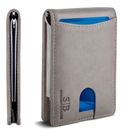 Travel Wallet RFID Blocking Bifold Slim Genuine Leather Thin Minimalist Front Pocket Mens Wallets with Money Clip - Made From Full Grain Leather (Slate Gray 1.S)