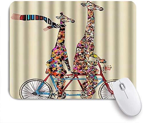 FAKAINU Alfombrilla de ratón,La Jirafa Colorida más Grande y pequeña USA una Bufanda Que Monta la Bicicleta tándem Funning,Goma Antideslizante Rectangular para Escritorio,portátil,Oficina,Trabajo