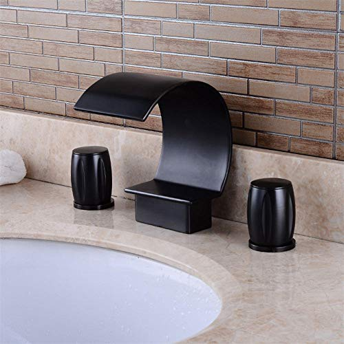 HUXO Bathroom Basin Sink Brass Faucet 3 Holes Two Handles Deck Mount Mixer Tap Black Ancient Basin Three-Hole Faucet Wash Basin Hot And Cold Double Double Water Bathroom Waterfall Faucet