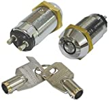 SECO-LARM SS-095-1H1 High Security Tubular Key Lock Switch, Used for Momentary Alarm Arm/Disarm, Momentary ON/shunt OFF 2 Terminals, SPST; Maintained OFF, Springs Back From ON, Key Removable From OFF