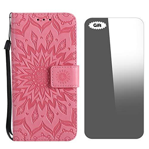 Galaxy Note 5 Hülle, Conber Lederhülle Handyhülle + [Frei Schutzfolie], PU Tasche Leder Flip Hülle Cover Vintage Emboss Sonne Totem Schutzhülle für Samsung Galaxy Note 5 - Pink