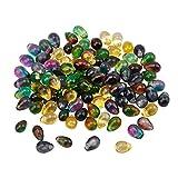 AHANDMAKER Colgantes de Cristal de Lágrimas, 100 Uds Cuentas de Vidrio de Colores Mezclados En Forma de Lágrima de 4 x 6 mm con Orificio de 1 mm para Hacer Collares DIY, Pendientes