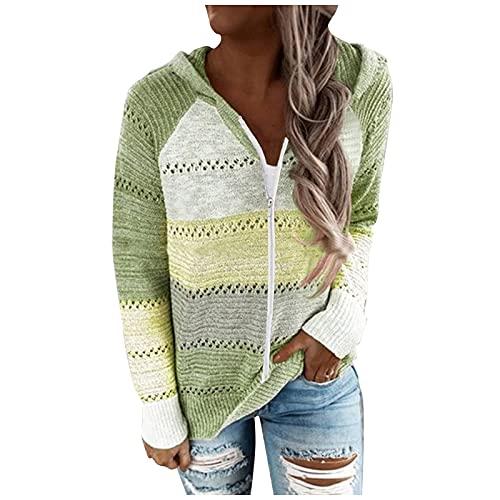 FMYONF Sudaderas de punto para mujer, con capucha, de manga larga, para otoo e invierno, con cremallera, verde, XXXL