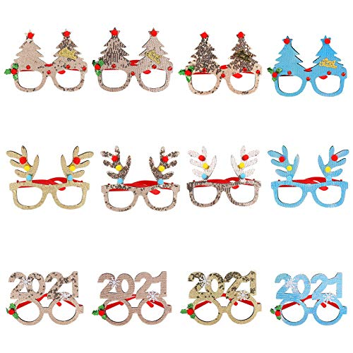BestCool 12 Pack Novelty Christmas Glasses Frames Glitter Christmas Decoration Costume Eyeglasses Party Glasses Creative Funny Eyewear for Christmas Party Favor Supplies, Assorted Styles