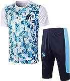 BBJOZ Equipamiento de fútbol personalizado camiseta de fútbol azul claro + pantalones cortos para la nueva temporada de Marsella 20-21 temporada - L_Blanco