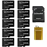Cloudisk Micro SD Memory Cards Bulk Pack (10Pack 128MB) with MicroSD Adapter + SD CardReader