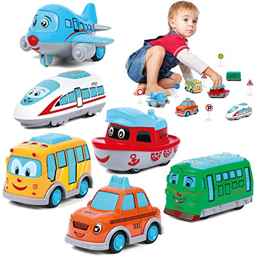 Pull Back Toy Cars For Kids, Toddler Pull Back Cars Includes School...