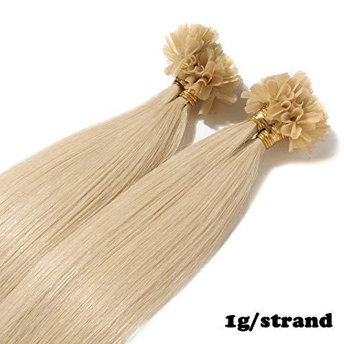 Extensions Echthaar Bondings 1g 100% Remy Echthaar Haarverlängerung Keratin Bonding 50 Strähnen 60cm (#60 platinblond)