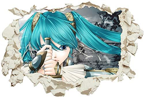 Unified Distribution Anime & Manga - Vocaloid Hatsune Miku Ritter - Wandtattoo mit 3D Effekt, Aufkleber für Wände und Türen Größe: 92x61 cm, Stil: Durchbruch
