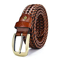 VOGARD Genuine Leather Mens Braided Belt (Tan, Free Size)