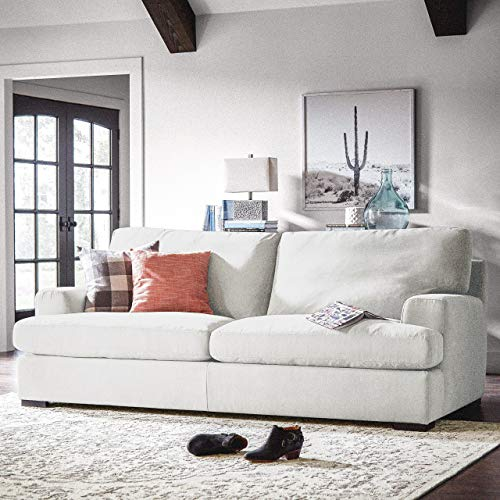 """Amazon Brand – Stone & Beam Lauren Down-Filled Oversized Sofa Couch, 89""""W, Pearl"""