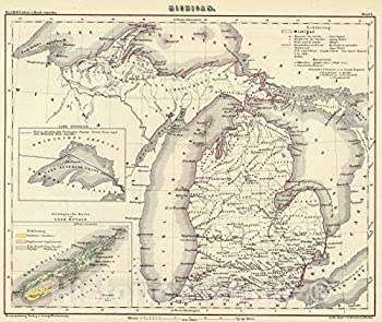 Historic Map - National Atlas - 1854 Michigan - Vintage Wall Art - 30in x 24in