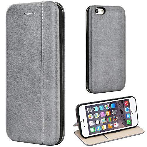 Leaum Leder Handyhülle für iPhone 6 / 6S Hülle, Premium Handytasche Flip Schutzhülle für Apple iPhone 6 / 6S Tasche (Grau)