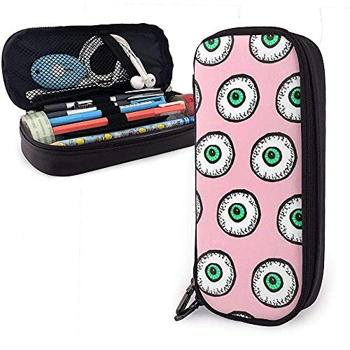 Big Eyes, Green and Pink Cute Pu Leather Pencil Case 20X9X4cm Double Zippers Pencil Pouch Bag for School Office Girls Boys Adultos
