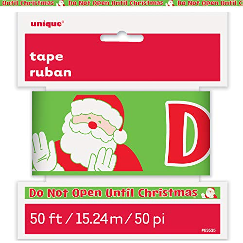 Unique Do Not Open Till Christmas Caution Tape   50ft Roll, Novelty Santa Print Decoration, Special Occasion Favors