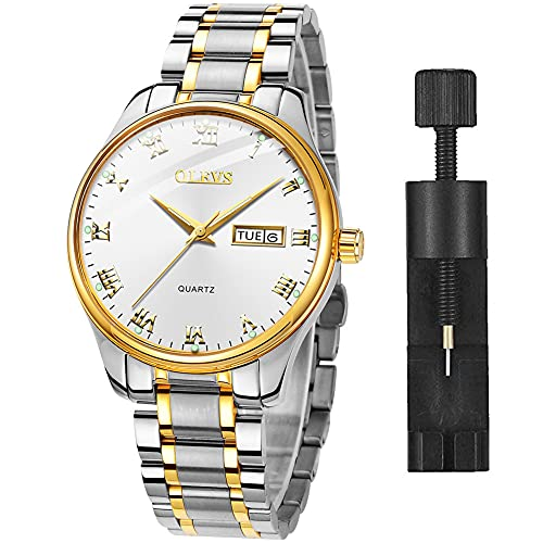 Mens Wrist Watches with Date and Day,Classic Mens Quartz Stainless Steel Dress Watch,Casual Waterproof Watches for Men,Mens Business Watch Silver Wrist Watch with Roman Numerals(Luminous)