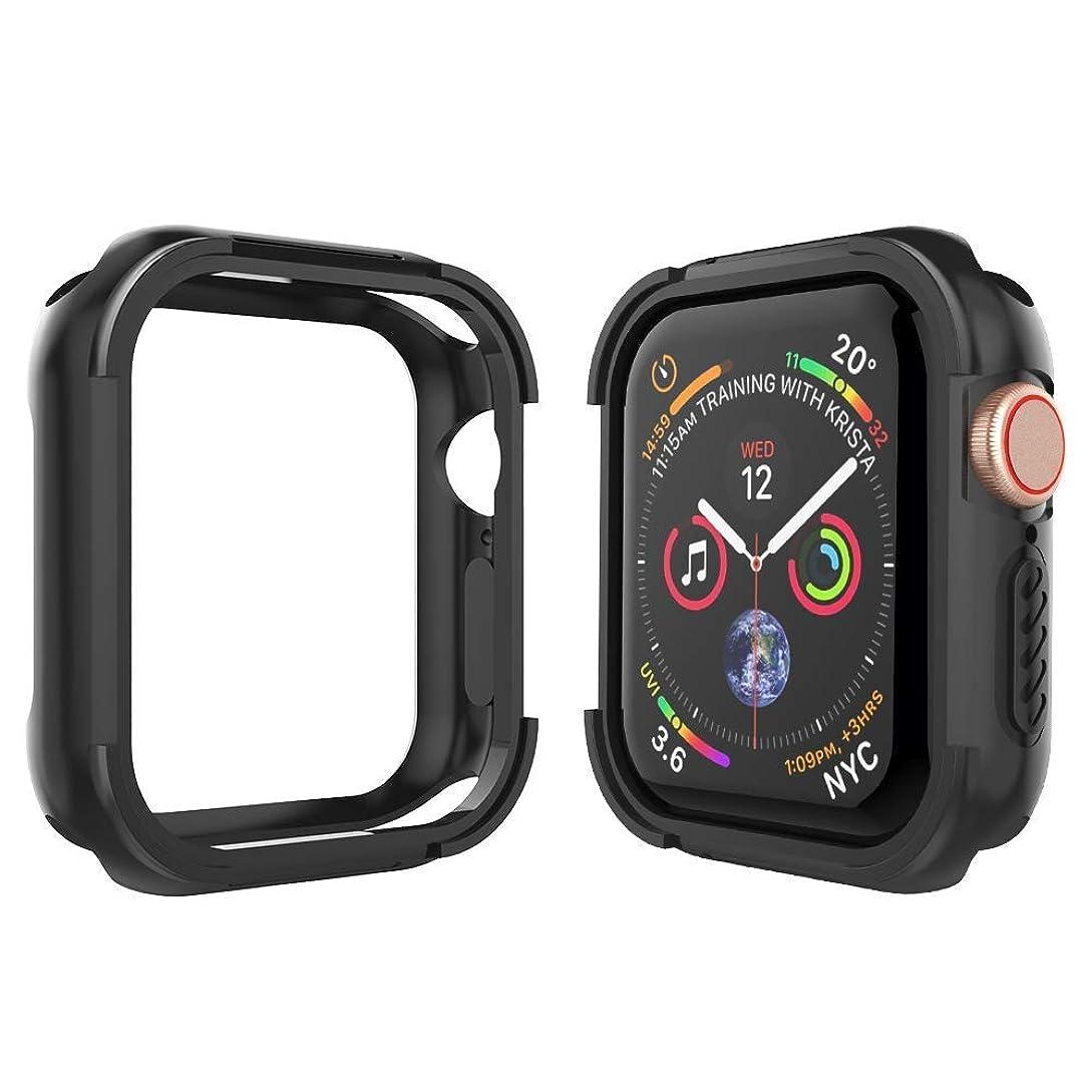 ロータリー酸っぱい雇うValued Apple Watch Series 5/4 カバー 44mm Apple Watch ケース TPU素材+PC素材 全面保護 アップルウォッチ カバー Apple Watch フィルム 高感度 耐衝撃性 軽量超簿 装着簡単 Apple Watch Series 5/4に対応 (44MM, 黒)