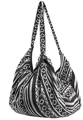 Tribe Azure Jacquard Cotton Shoulder Banana Style Fashion Travel Canvas Tote Bag Hobo Style Casual Market Purse Handbag (Black White)