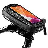 TEUEN Borsa Telaio Bici Impermeabile Borsa Porta Cellulare Bici Borsa da Bicicletta Manubrio con Touchscreen TPU, Borsa Smartphone Bici Adatto per Telefoni sotto 6.5 Pollici (Nero x3)