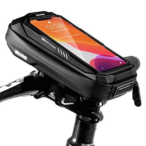 TEUEN Bolsa Bicicleta Impermeable Bolsa Movil Bici con Ventana para Pantalla Táctil, Bolsa para Cuadro Bicicleta Montaña para Smartphones de hasta 6,5' (Negro X3)
