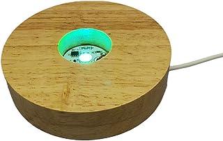 Mobestech Base de luz LED de madera USB colorida de escritorio de la pantalla de la base del adorno para joyería de la bola