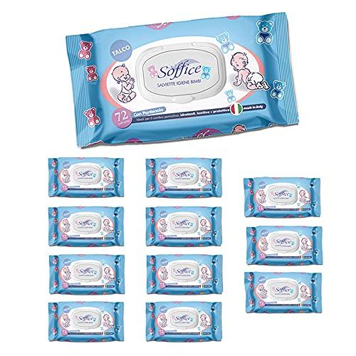 Soffice Toallitas Baby Talco con tapón 12 paquetes x 72 toallitas – 370 g