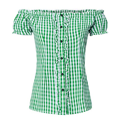 AIDEAONE Oktoberfest Bluse Trachtenbluse Carmenbluse Trachtenmode für Damen Oberteil Baumwolle