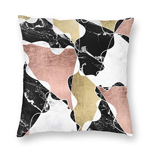 Funda de cojín cuadrada de mármol negro blanco oro rosa, bloque geométrico de terciopelo suave, decorativa, funda de almohada para sala de estar, sofá o dormitorio con cremallera invisible de 20 x 20 pulgadas