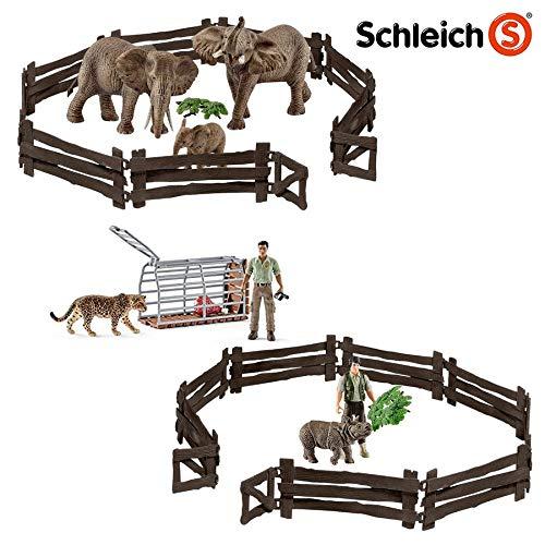 SPAR-SET 173653 - Schleich - Wild Life - 2 Ranger mit Elefanten-Familie, Nashornbaby und Jaguar mit tollem Zubehör
