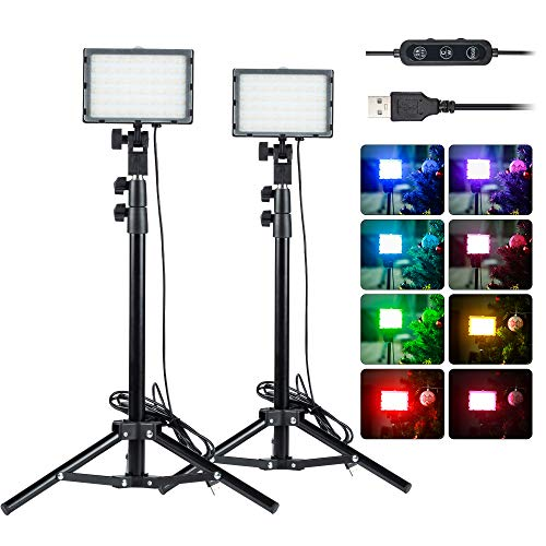 2 Packs RGB Video Conference Lighting Kit LED Video Lighting Tabletop Light Kit with 45cm Light Stand,Dimmable 2600K-6000K, USB Portable Fill Light for Table Top,Photo Video Studio Shooting