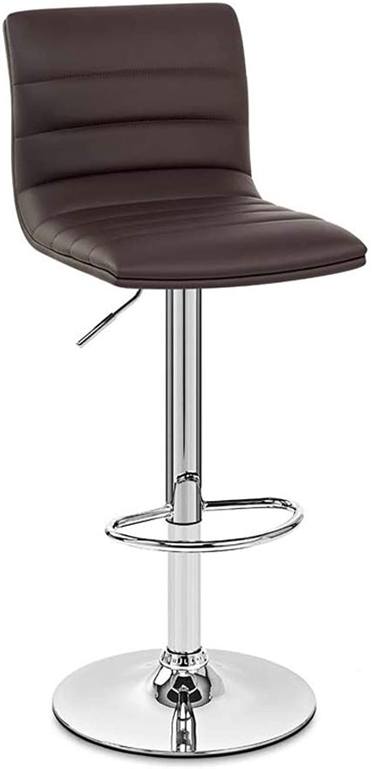 Bar Chair Home redating Back Boss Stool High Elastic Sponge Filled Computer Chair PU Leather 4 color 42cm  89-110cm (color   Brown)