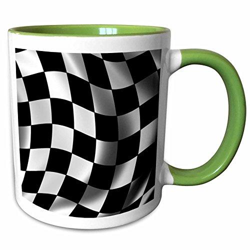3drose Carsten Reisinger Illustrationen–Race Flagge Banner Checker Schachbrettmuster Finish Racing Motor Sport Waving–Tassen 15-oz Two-Tone Green Mug grün/weiß