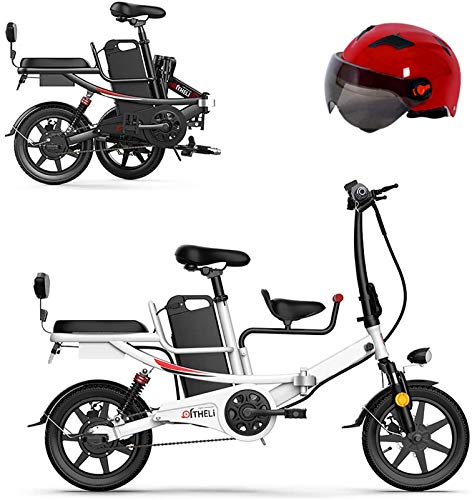 Bicicletas Eléctricas, 14' bicicleta plegable eléctrica for Adultos con 350w 48v batería de litio extraíble bicicleta eléctrica con asiento de bebé de absorción de choque de seis veces y frenos mecáni