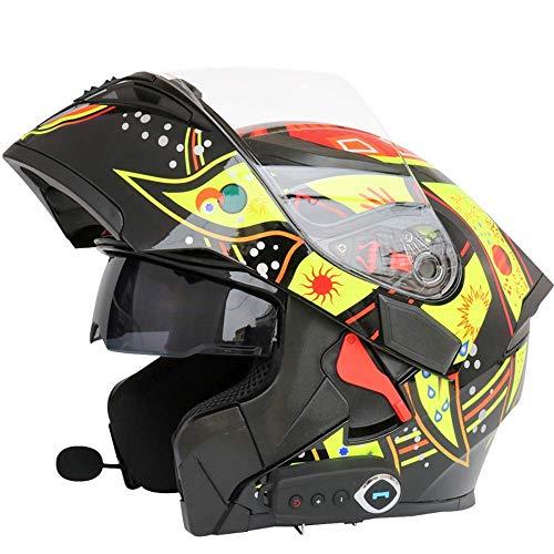 LICIDI Modularer Motorradhelm Bluetooth + FM DOT-zertifizierter Flip-Reise-Helm integrierter Bluetooth-Kopfhörer mit Zwei Lautsprechern und Mikrofonantwort,D,L